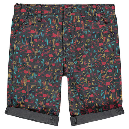 Cotton bermuda shorts with allover surf print