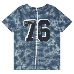 Junior - Shibori-effect jersey tee-shirt with printed numbers