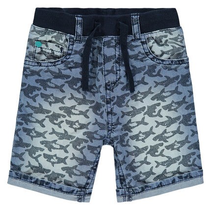 Denim bermuda shorts with sharks printed all over.