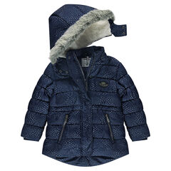 Sherpa-lined padded coat with printed stars and removable hood
