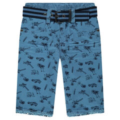 All-over printed twill Bermuda shorts with belt