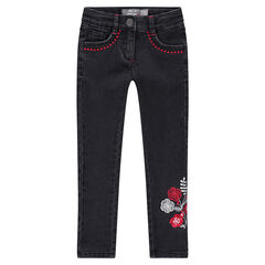 Stretch slim fit jeans with embroidered flowers and friezes