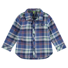 Long-sleeved checkered flannel shirt