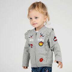 Fleece jacket with frills and ©Smiley badges