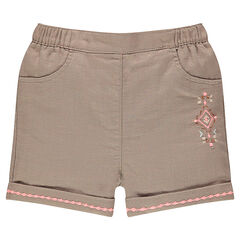 Shorts in an original cotton fabric with inca embroidery