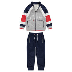 Fleece sweatsuit with embroidered message and zippered pockets