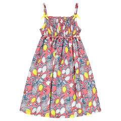 Dress with thin straps and an allover print