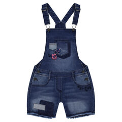 Junior - Used-effect short overalls with patches and embroidered flowers