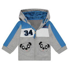 Hooded fleece jacket with panda-shaped pockets
