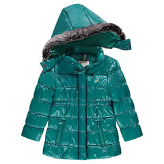 Quilted down coat with removable hood and lacquered effect