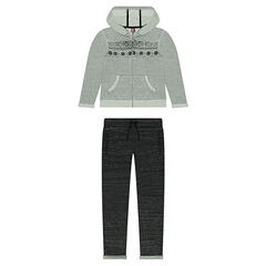 Fleece sweatsuit ensemble with decorative motifs