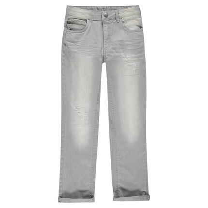 Junior - Used and crinkled-effect fitted jeans.