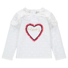 Fleece sweatshirt with 3D hearts and fringed heart