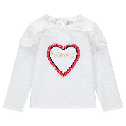 Fleece sweatshirt with 3D hearts and fringed heart