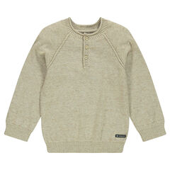 Junior - Fine knit sweater with button collar