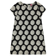 Short-sleeved dress with allover jacquard polka dots