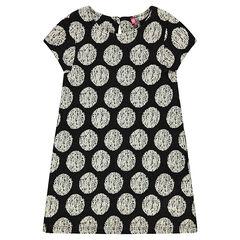 Short-sleeved dress with allover jacquard polka dots