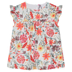 Junior - Cotton crepe tunic with printed flowers