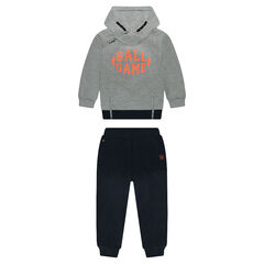 Two-tone sweatsuit with printed sweatshirt in ottoman fleece