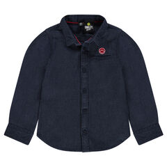 Woven cotton shirt with embroidered Smiley