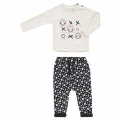 Sweatsuit with Smiley print tee-shirt and sherpa-lined fleece pants