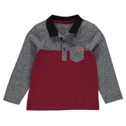 Long-sleeved, two-tone, twisted slub jersey polo shirt