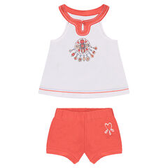 Ensemble with a tank top featuring a trendy neckline and plain-colored shorts