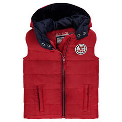 Sleeveless quilted jacket with hood