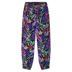 Fluid pants with jungle print