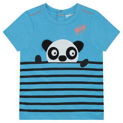 Short-sleeved jersey tee-shirt with placed stripes and a panda in relief