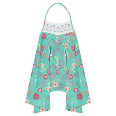 Loose-fit short overalls with colorful flowers all over
