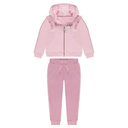 Fleece sweatsuit with printed message and frills