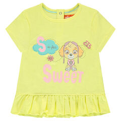 Short-sleeved frilled tee-shirt with print