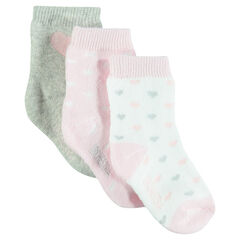 Set of 3 pairs of socks with hearts