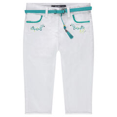 Cotton satin capri pants with a removable belt