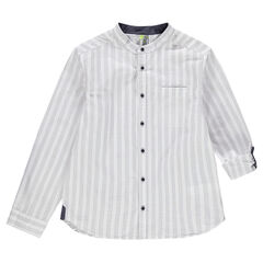 Junior - Long-sleeved shirt with vertical stripes and mandarin collar