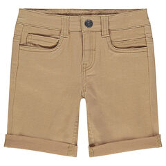 Plain-colored, cotton bermuda shorts