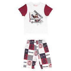 Junior - Pajamas with short-sleeved tee-shirt and ©Marvel Iron Man print