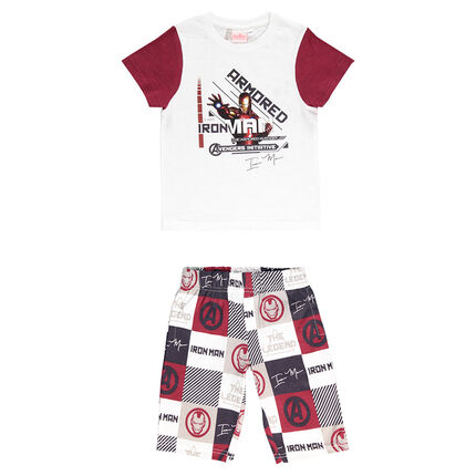Junior - Pajamas with short-sleeved tee-shirt and ©Marvel Iron Man print