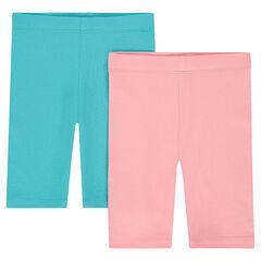 Set of 2 plain-colored cycling shorts