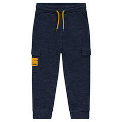 Heather fleece jogging pants with flap pockets