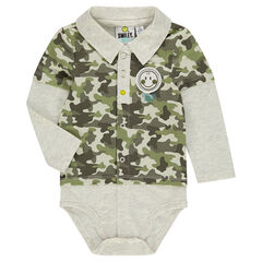 Long-sleeved 2-in-1 effect bodysuit with ©Smiley army motif