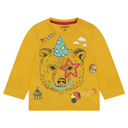 Long-sleeved jersey tee-shirt with a decorative printed motif