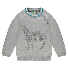 Knit sweater with printed zebras