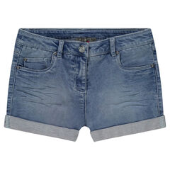 Junior - Used and crinkled-effect denim shorts