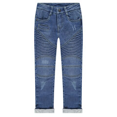 Used and crinkled-effect jersey-lined jeans with seamed details