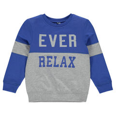 Fleece sweatshirt with printed writing