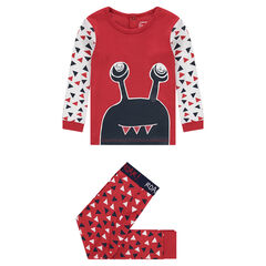 Jersey pajamas with monster print