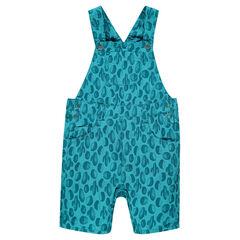Poplin short overalls with allover print
