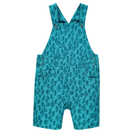 Poplin short overalls with allover print